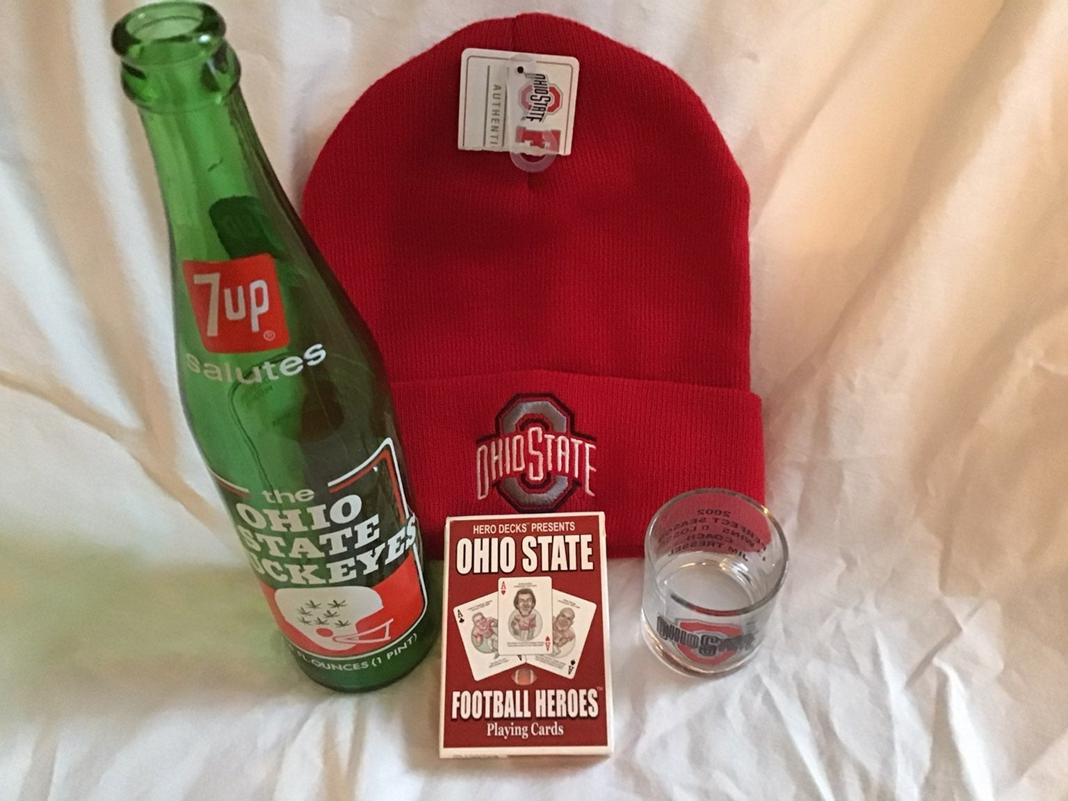 Ohio State Buckeyes lot 4 hat glass 7up