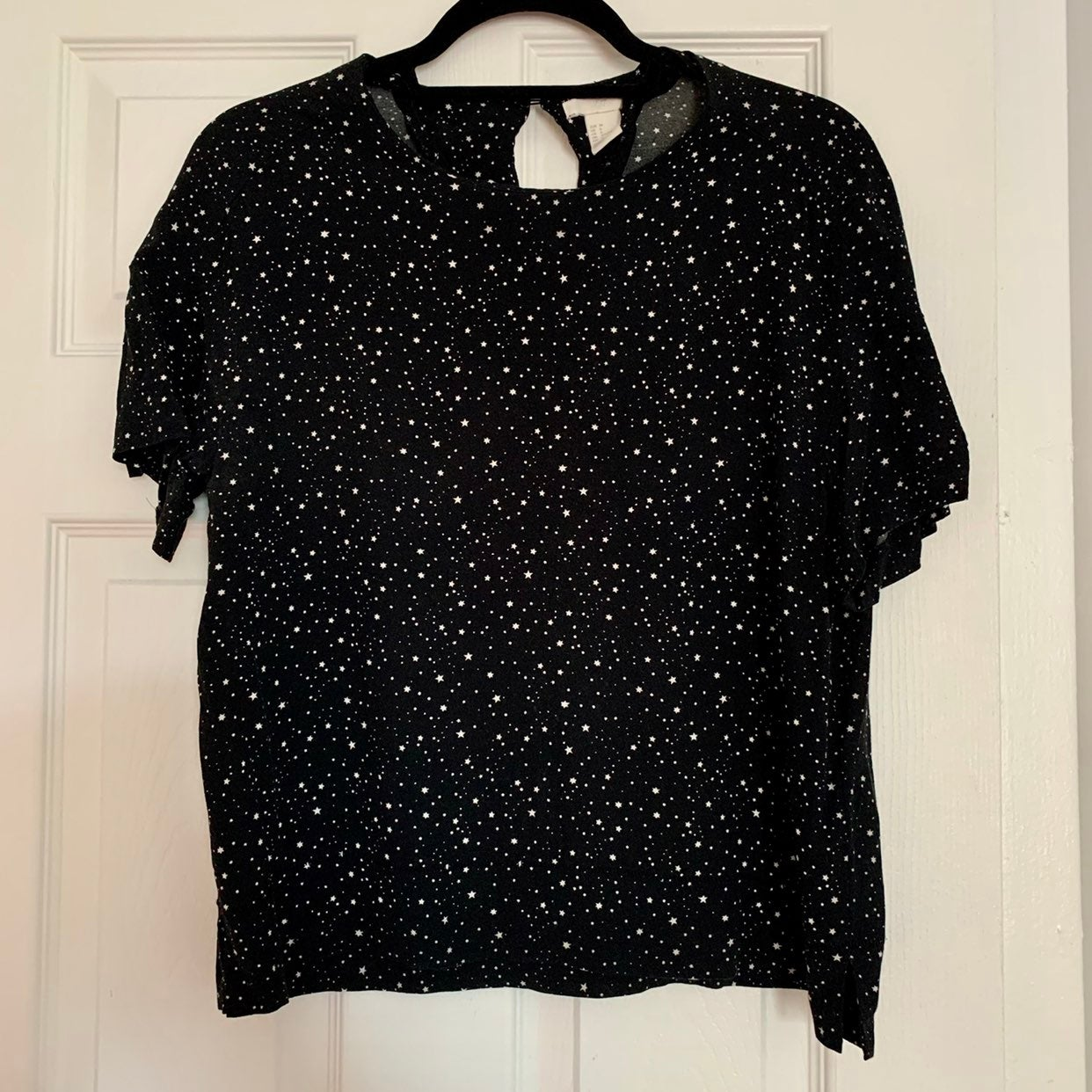 H&M Black and White Stars Blouse size 6