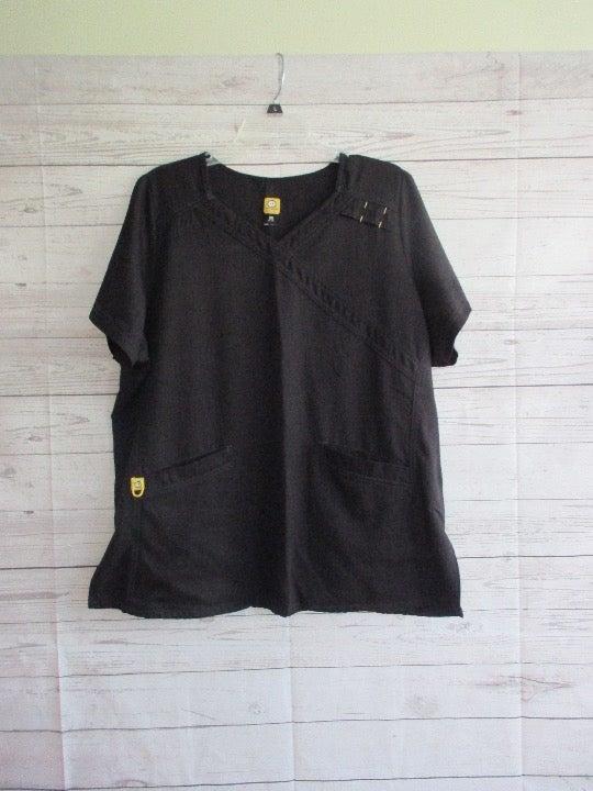 Black WONDERWINK scrub top - sz 2X - EUC