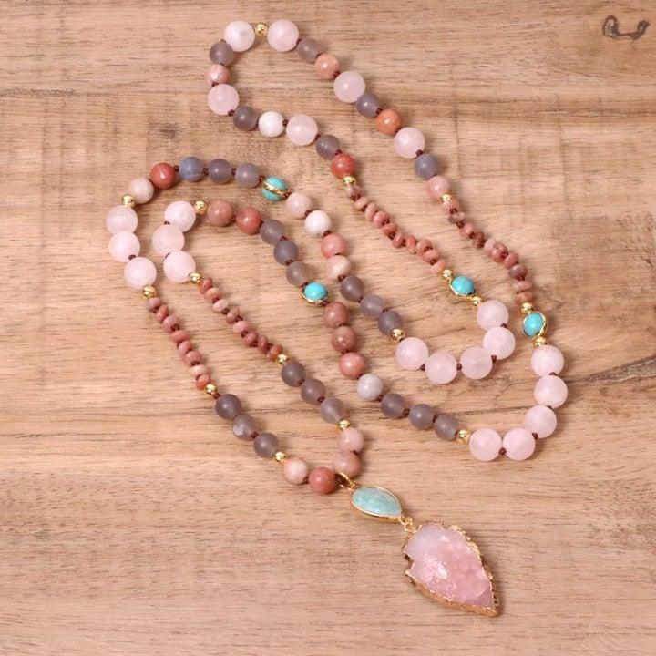 Handmade Retro Rose Quartz Necklace for Women +Gift Pouch