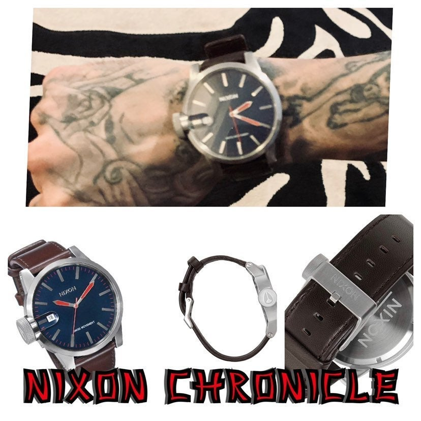 Nixon The Chronicle Navy Dial SS Leather