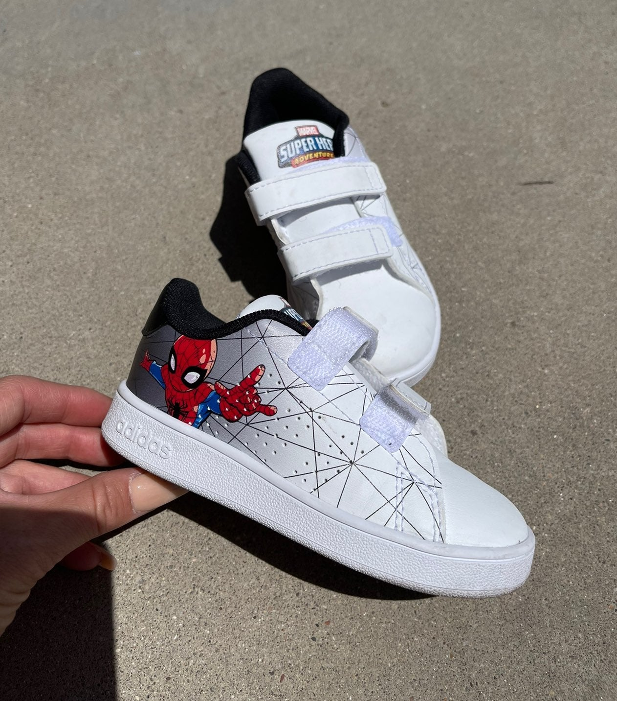 Adidas spiderman toddler shoes
