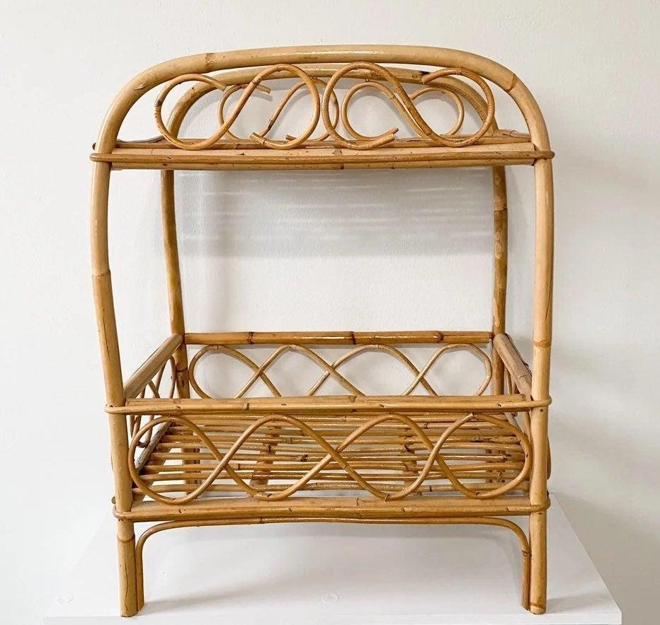 Vintage boho rattan standing shelf