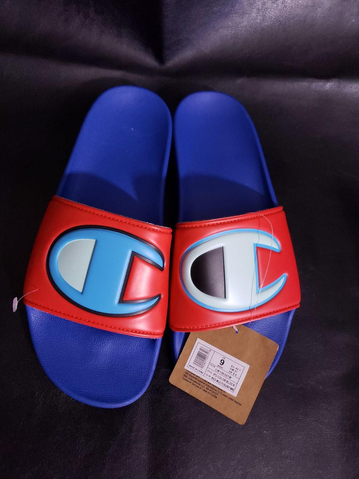 Champion slides  sandals blue size 9
