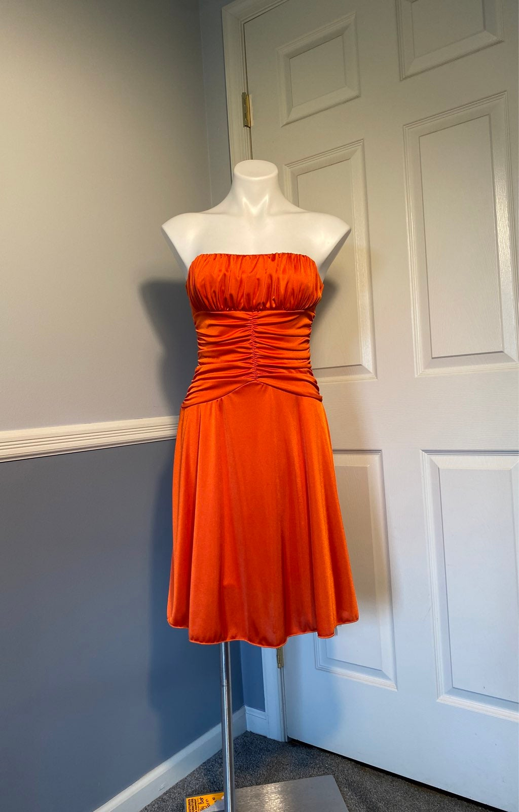 Teeze Me Orange Strapless Dress