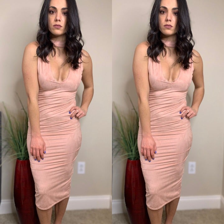 Missguided Pink Suede Midi Choker Dress