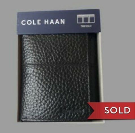 NIB Cole Hann men's wallet trifold black