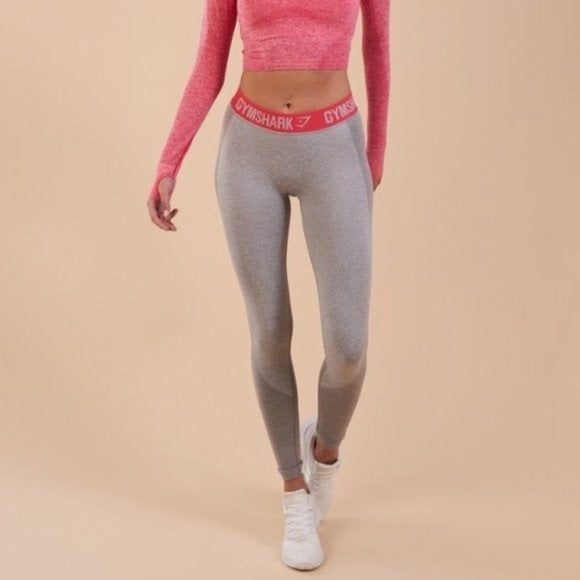 Gymshark Gray Flex Leggings with Pink