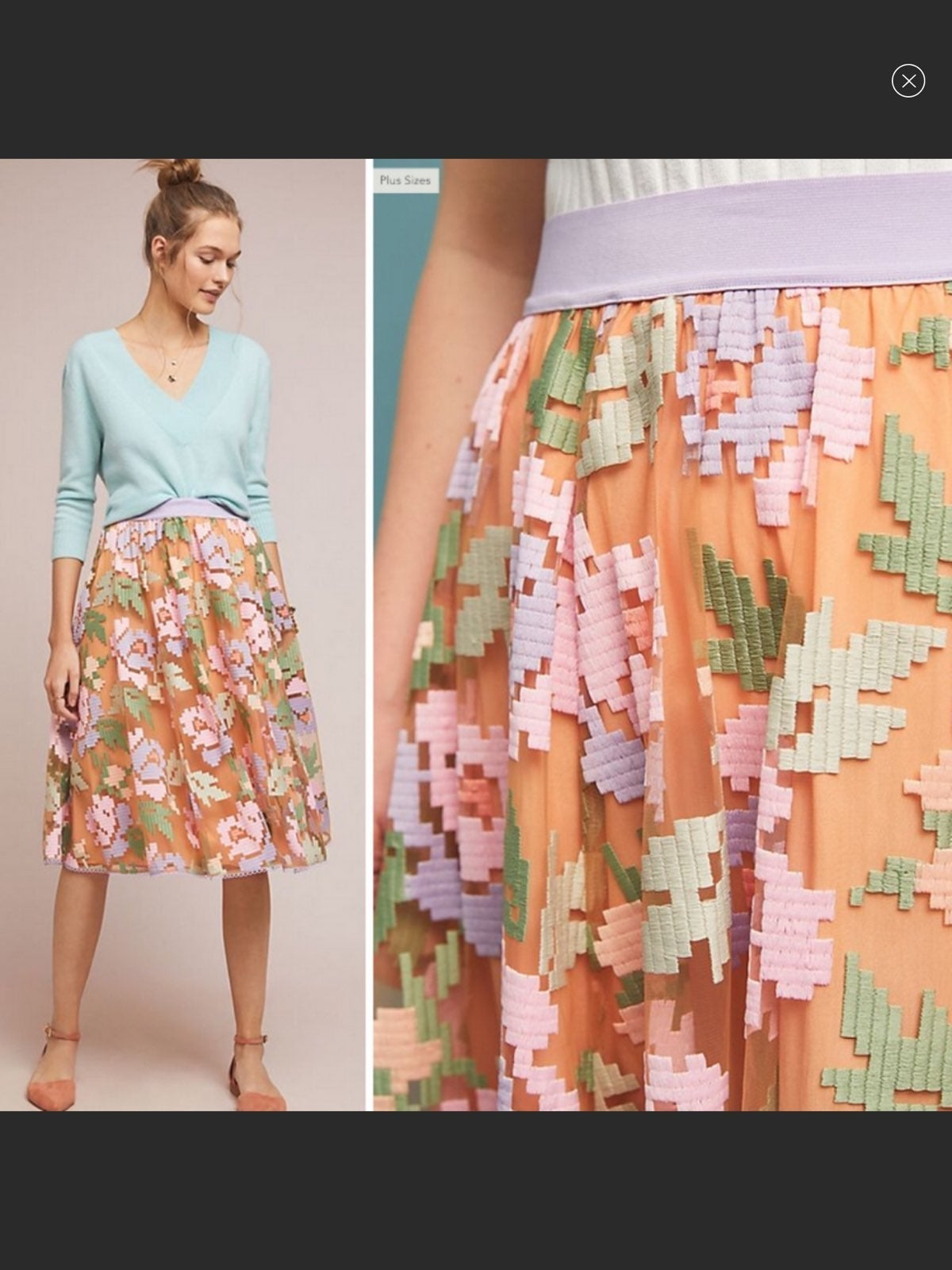Small Embroidered Pixilated Floral Skirt
