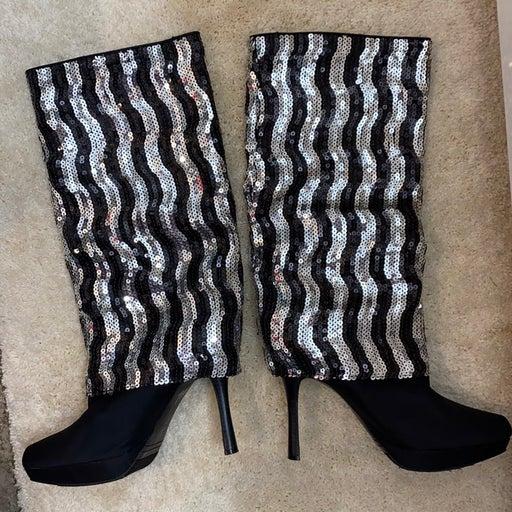 Nina tall sequin heeled boots