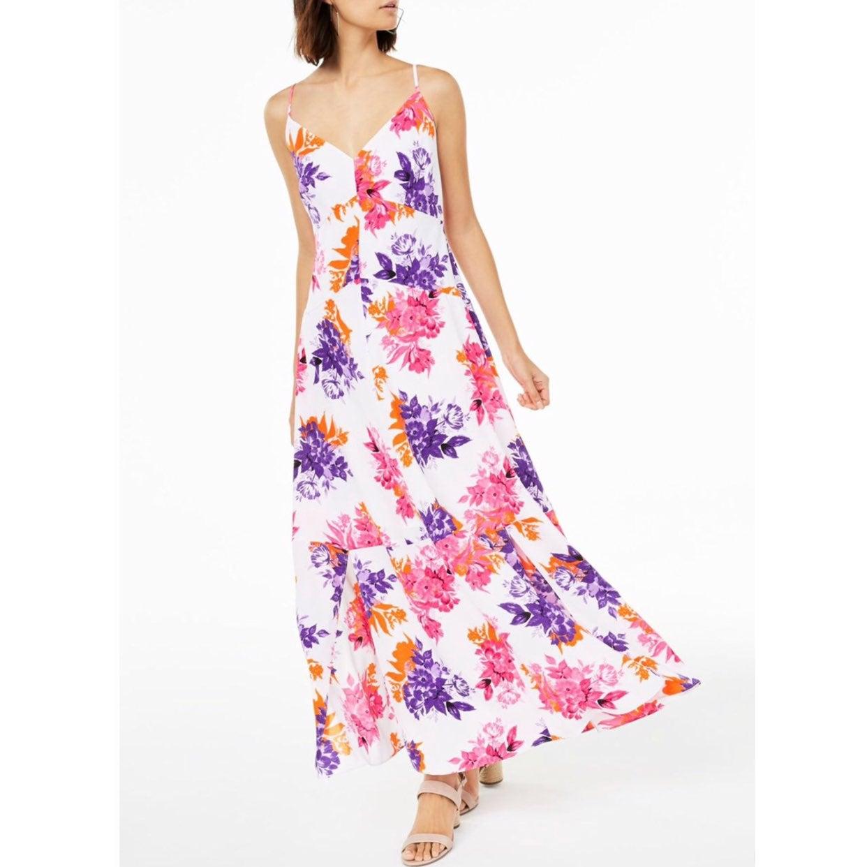 floral spaghetti strap Vneck maxi dress