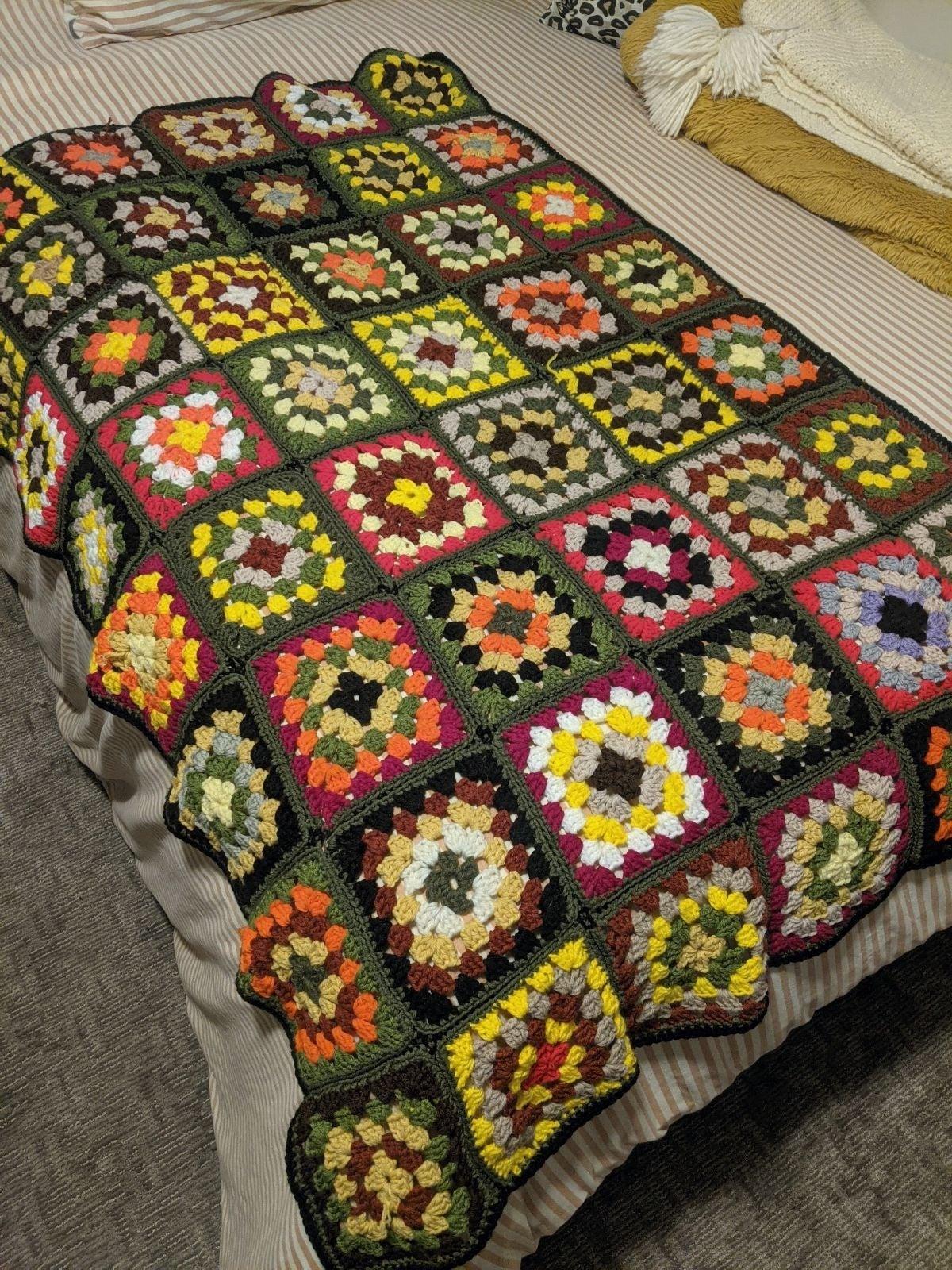 Warm Crocheted Square Handmade Blanket