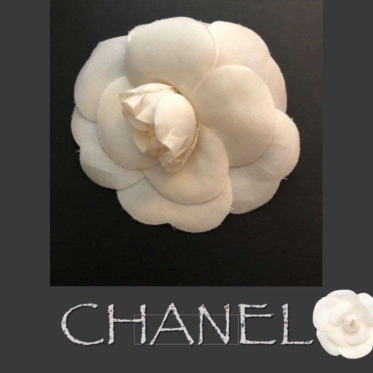 Auth Chanel Silk Camellia Brooch