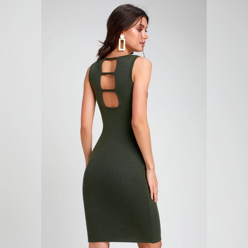 Lulus Olive Green Bodycon Midi Dress