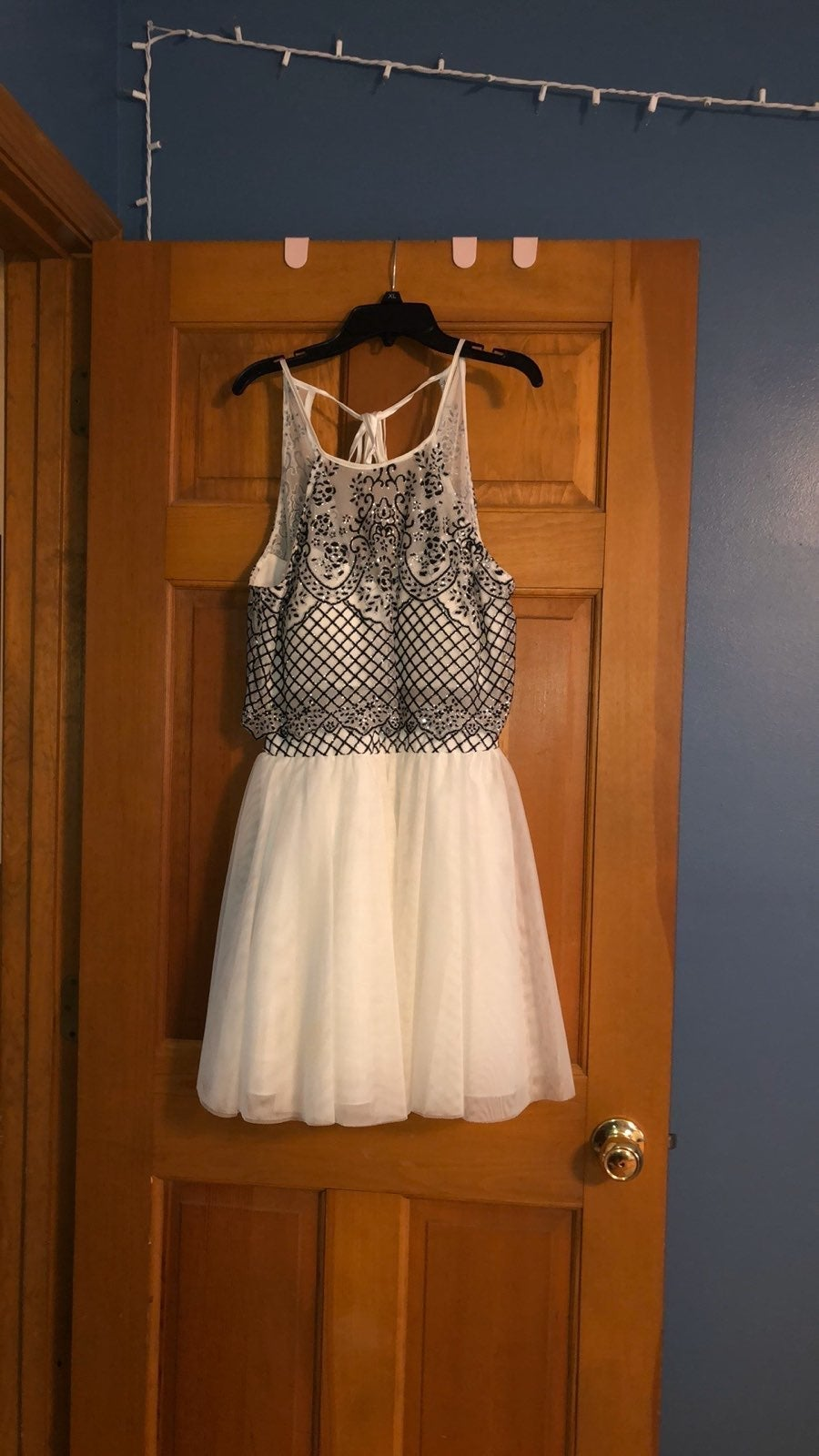 Black and white geometric prom dress