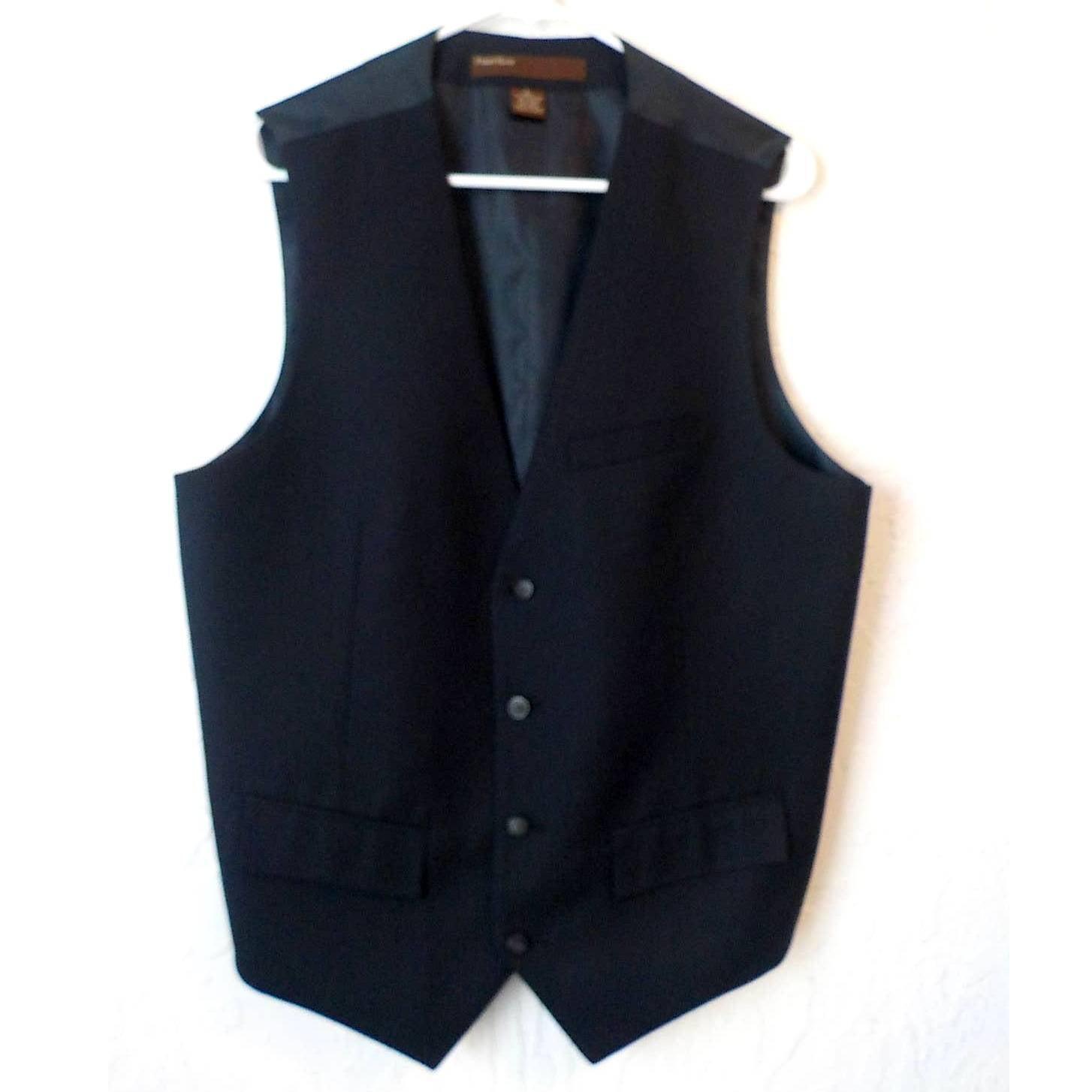 Perry Ellis Dress Vest Men Large Blue