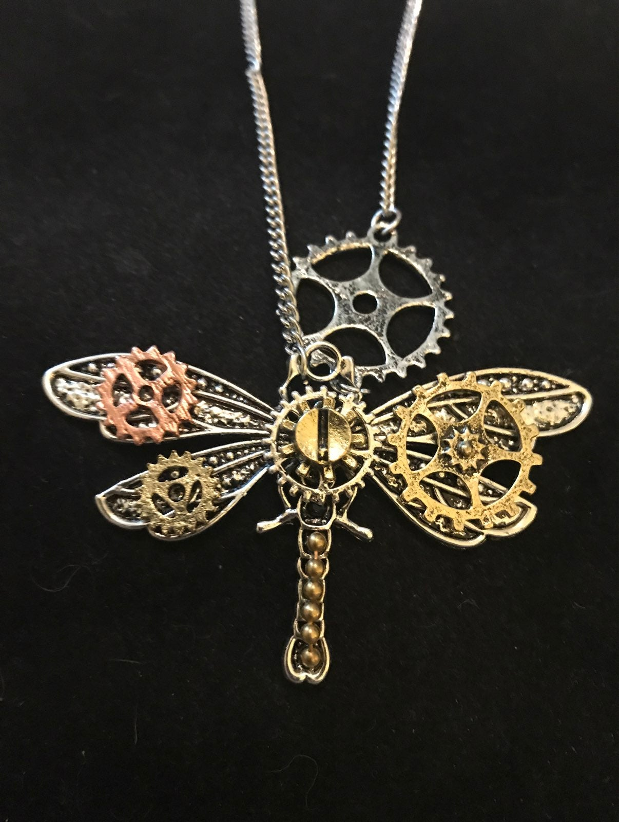 Steampunk dragonfly necklace with chain