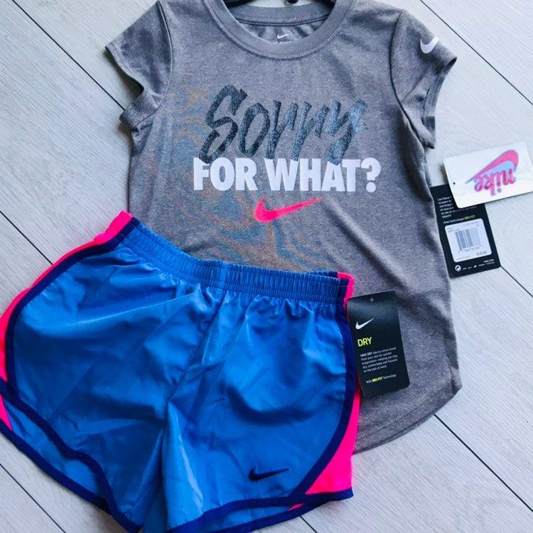 Nike girls outfit shorts set size 6 NWT