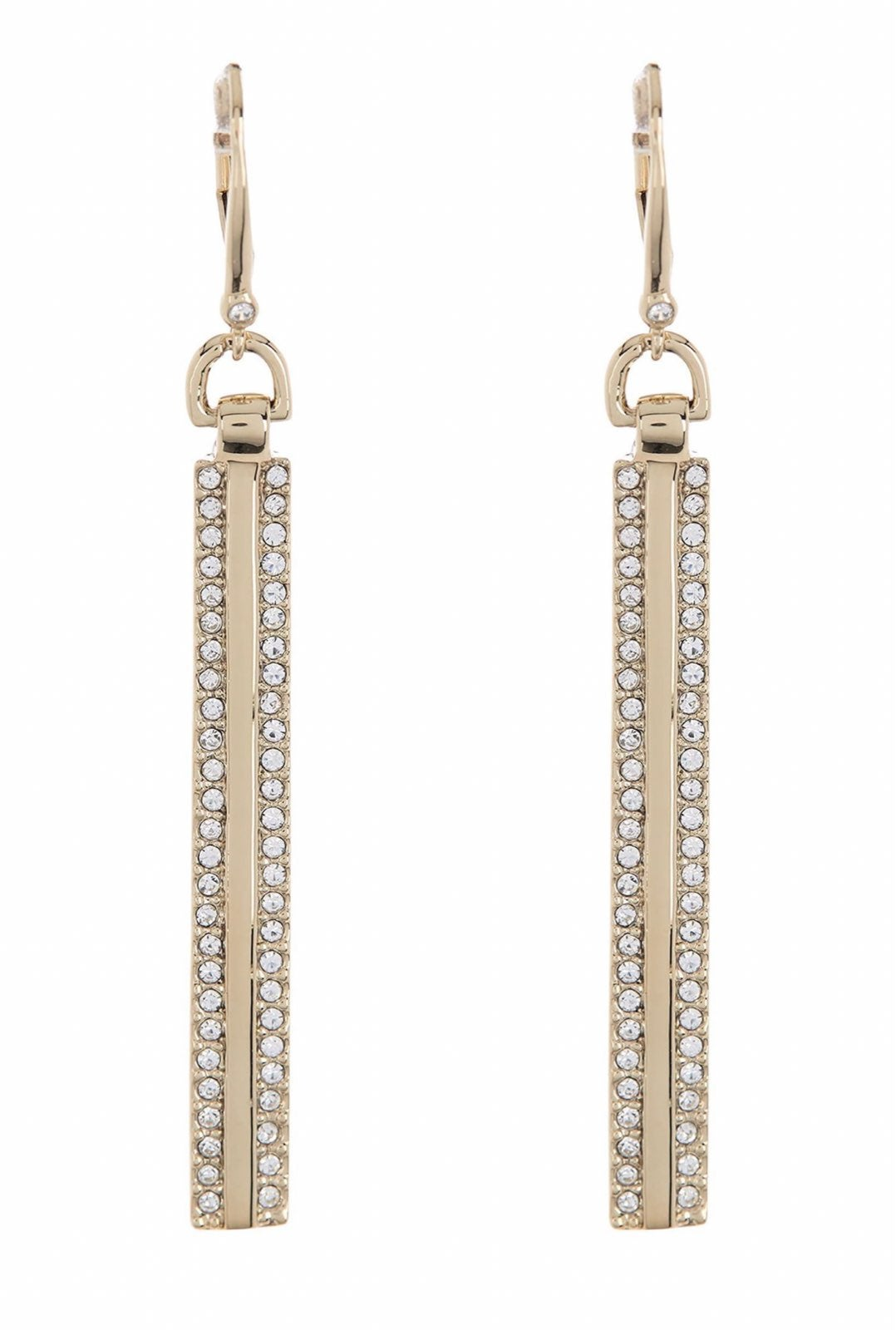 Crystal Pave Bar Linear Drop Earrings