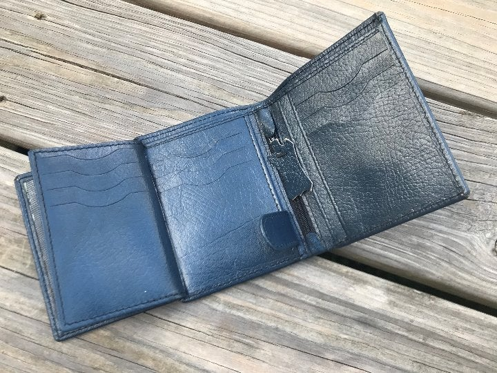 Blue Wallet Handmade Men Card Holder Pur