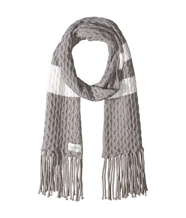 Calvin Klein Stripe Cable Knit Scarf