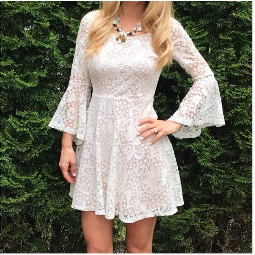 BCX Bell sleeve white lace dress size7