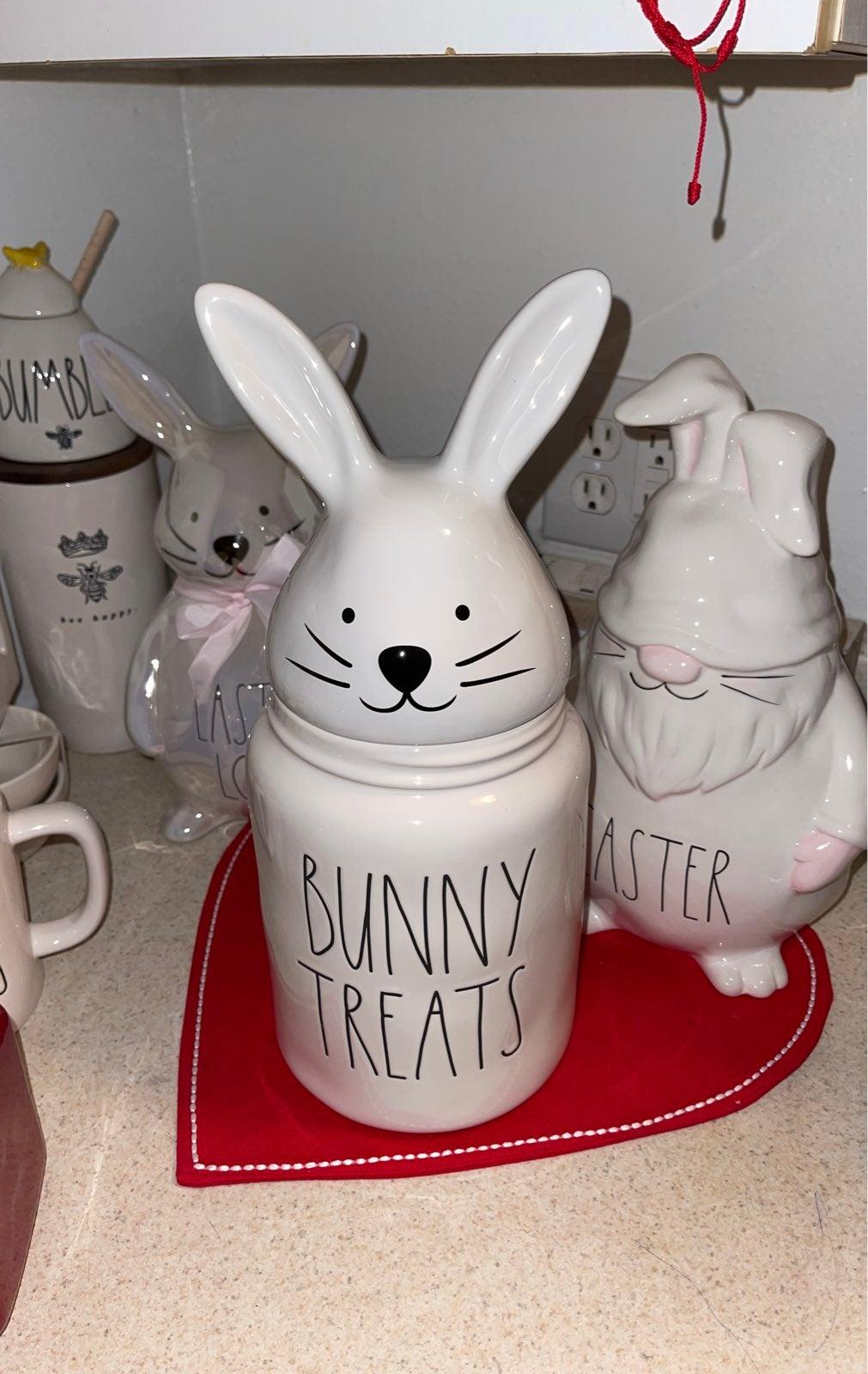 Rae Dunn bunny treats canister