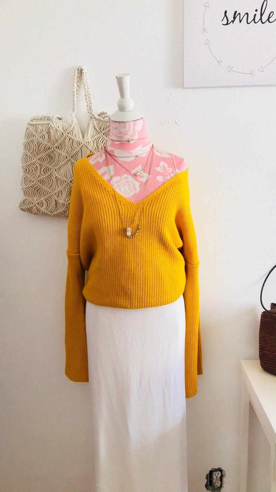 Topshop Mustard Crossed Back Sweater 12
