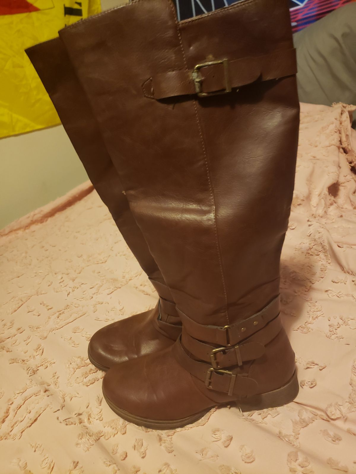 Brown justfab 6.5 leather knee high boot