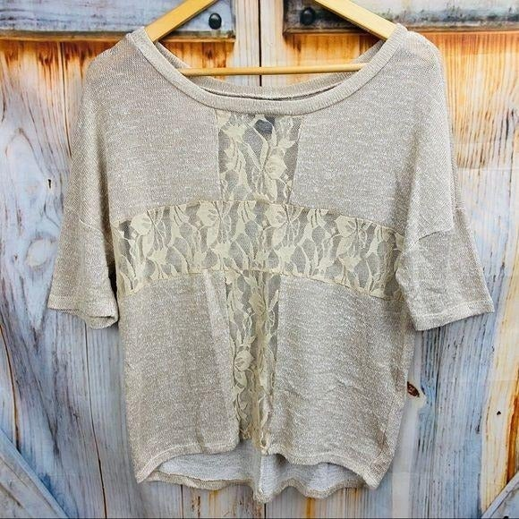 WET SEAL 3/4 Sleeve Lacey Knit Top