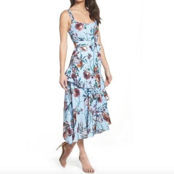 COOPER ST Blue Ruffle Dress Floral Midi
