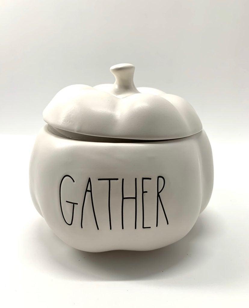 Rae dunn gather Pumpkin with lid