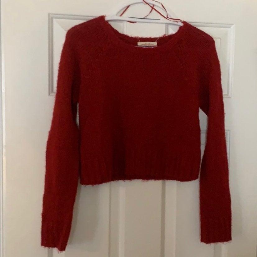 Red long sleeve crop top sweater