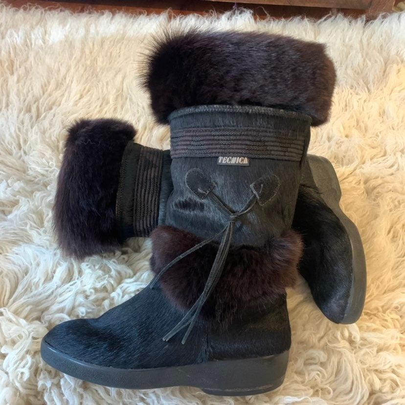 Tecnica Black goat fur Tassel boots