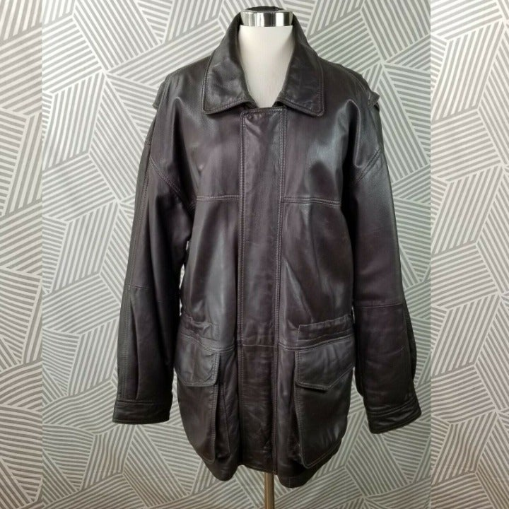 Jos A Bank Jacket Bomber Leather Large
