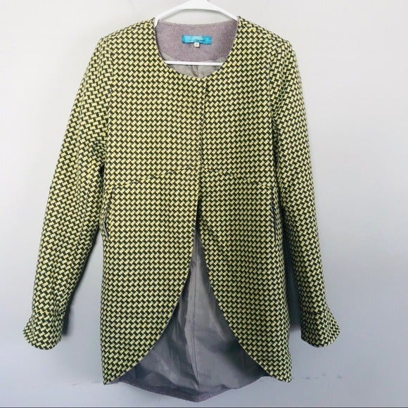 Buttons chartreuse wool overcoat jacket