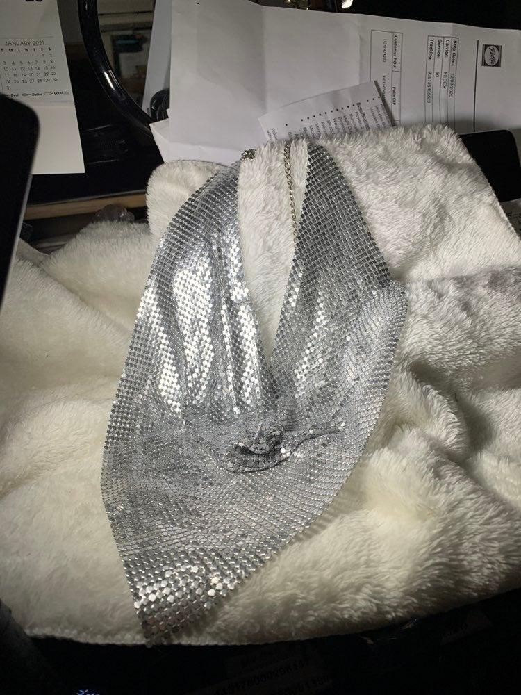 Silver metal mesh choker
