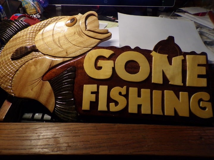 21 INCH WOOD CARVED- GONE FISHING