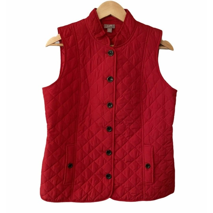 Women's J. JILL Red Quilt Zip Up Pocket