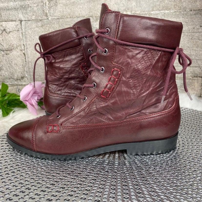 Tony Bianco Leather Burgundy Combat Boot
