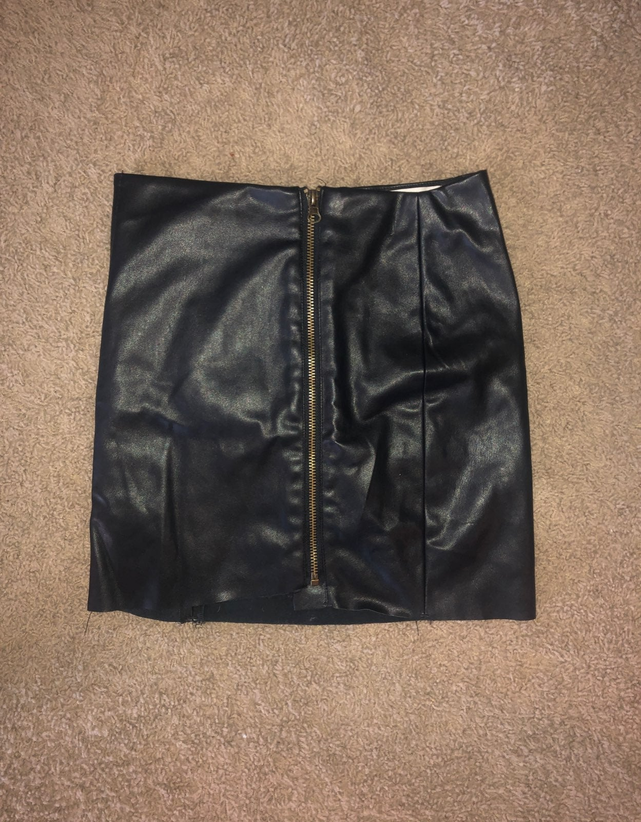 Leather zip up Skirt