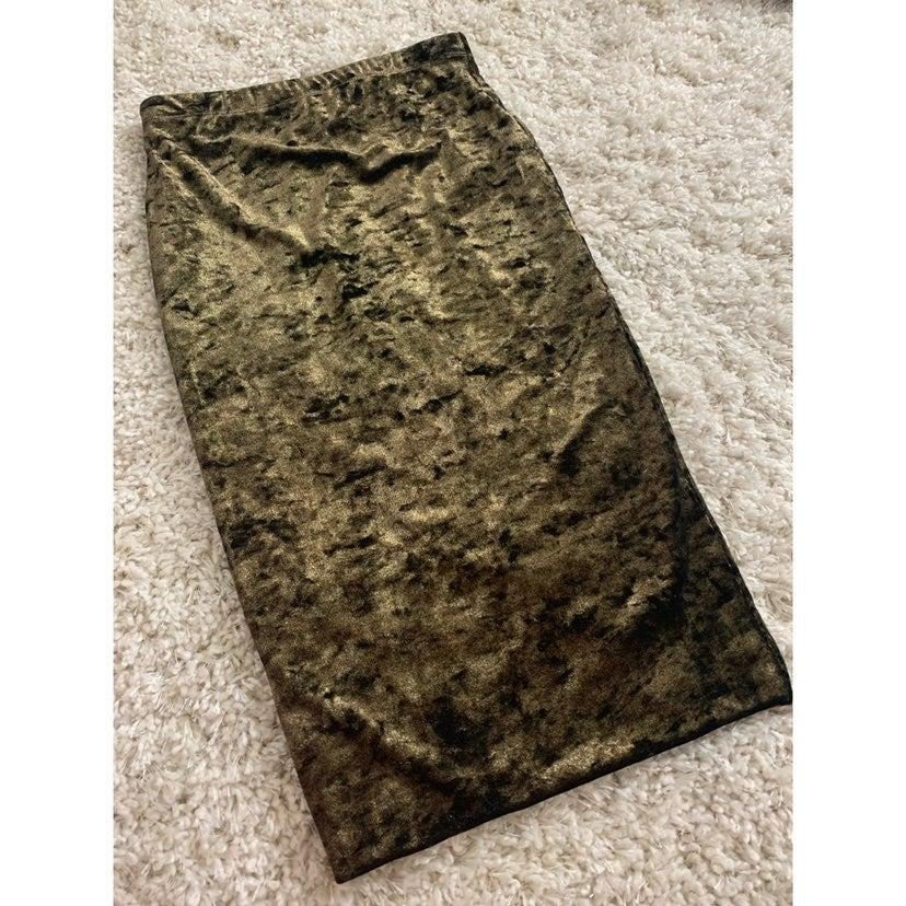 Velvet Gold / Black Pencil Skirt