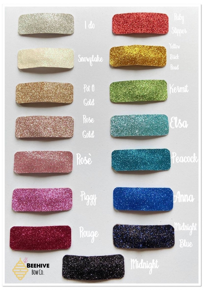 Rectangle Glitter Snap Clip Barrettes
