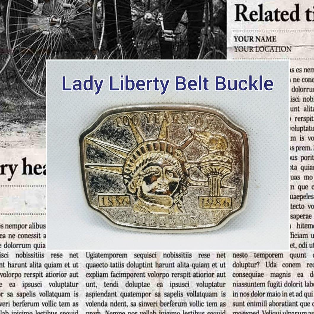 Lady Liberty Belt buckle beautiful Silve