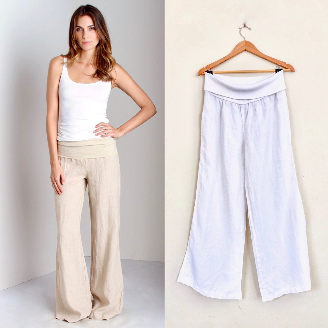 BELLA DAHL Linen Foldover Wide Leg Pants