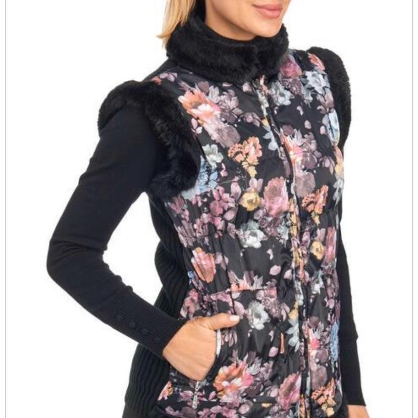 Bagatelle NWT Black Fur Quilted Zip Vest