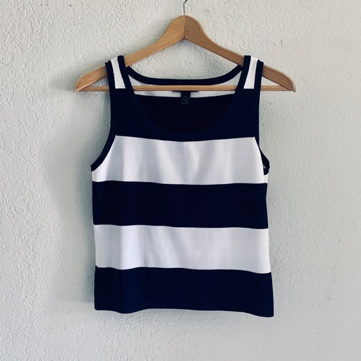 Navy Blue and White Striped Tank Top