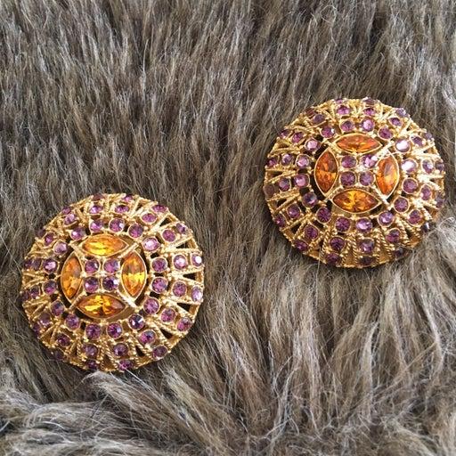 Vtg CRAFT dome purple topaz clip earring