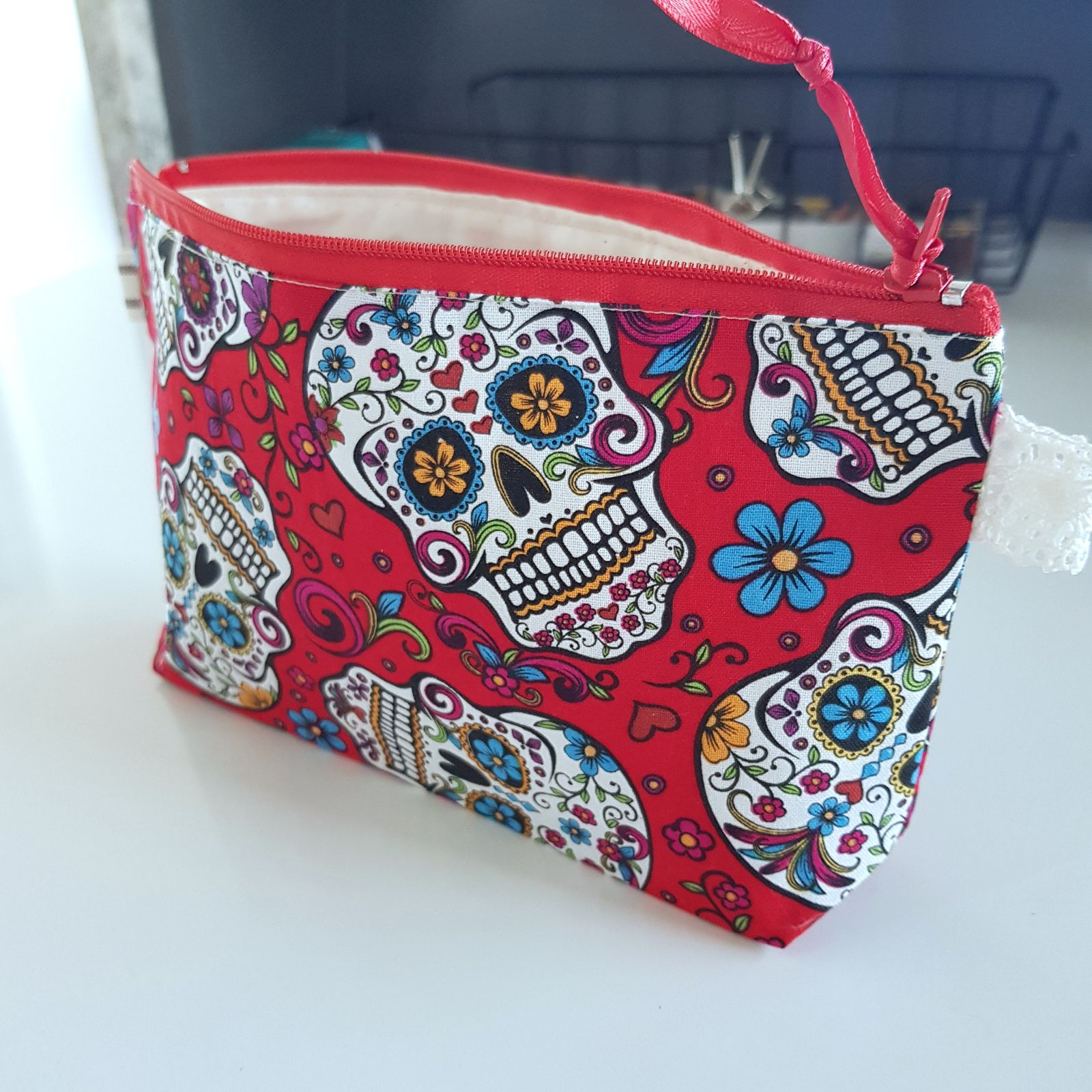 sugar skull(red)zipper pouch