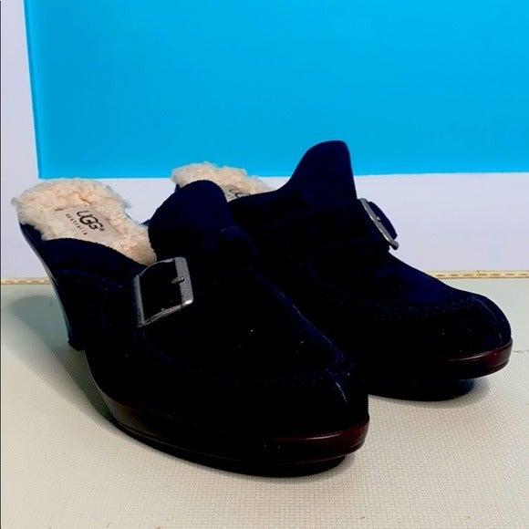 Ugg Black Suede Sherpa Clog Heels